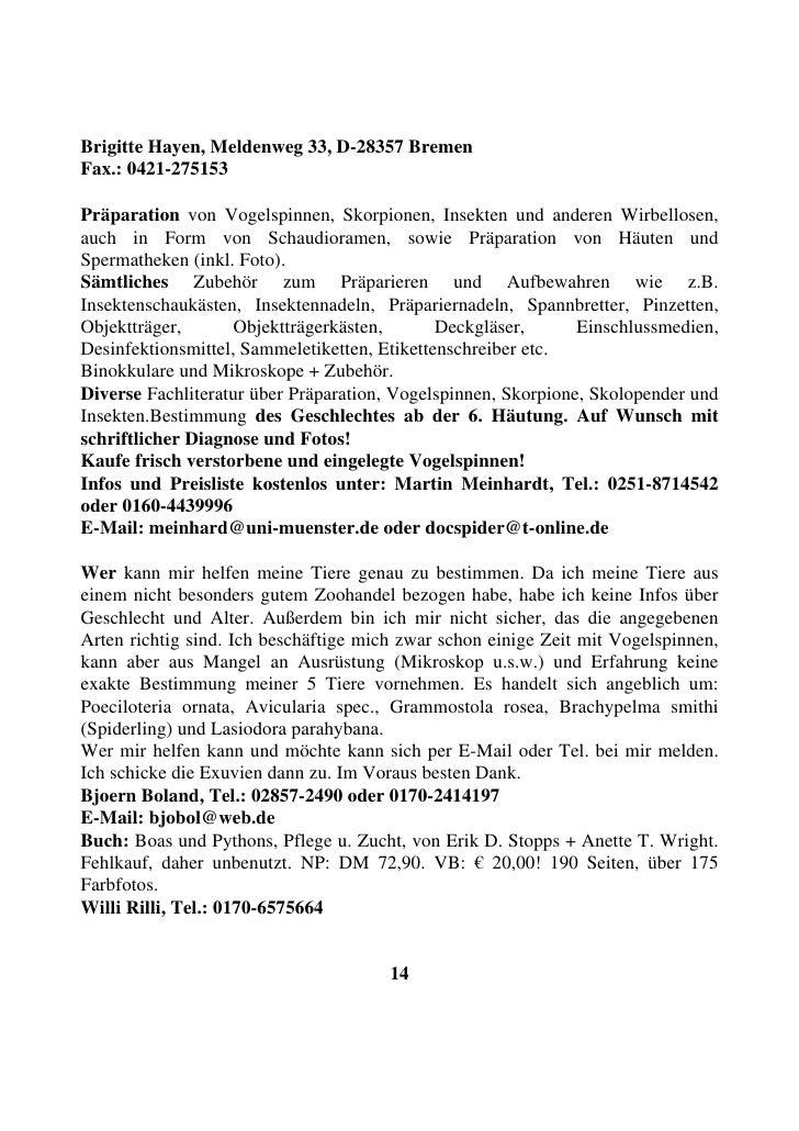 Brigitte Hayen, Meldenweg 33, D-28357 Bremen Fax.: 0421-275153  Präparation von Vogelspinnen, Skorpionen, Insekten und and...
