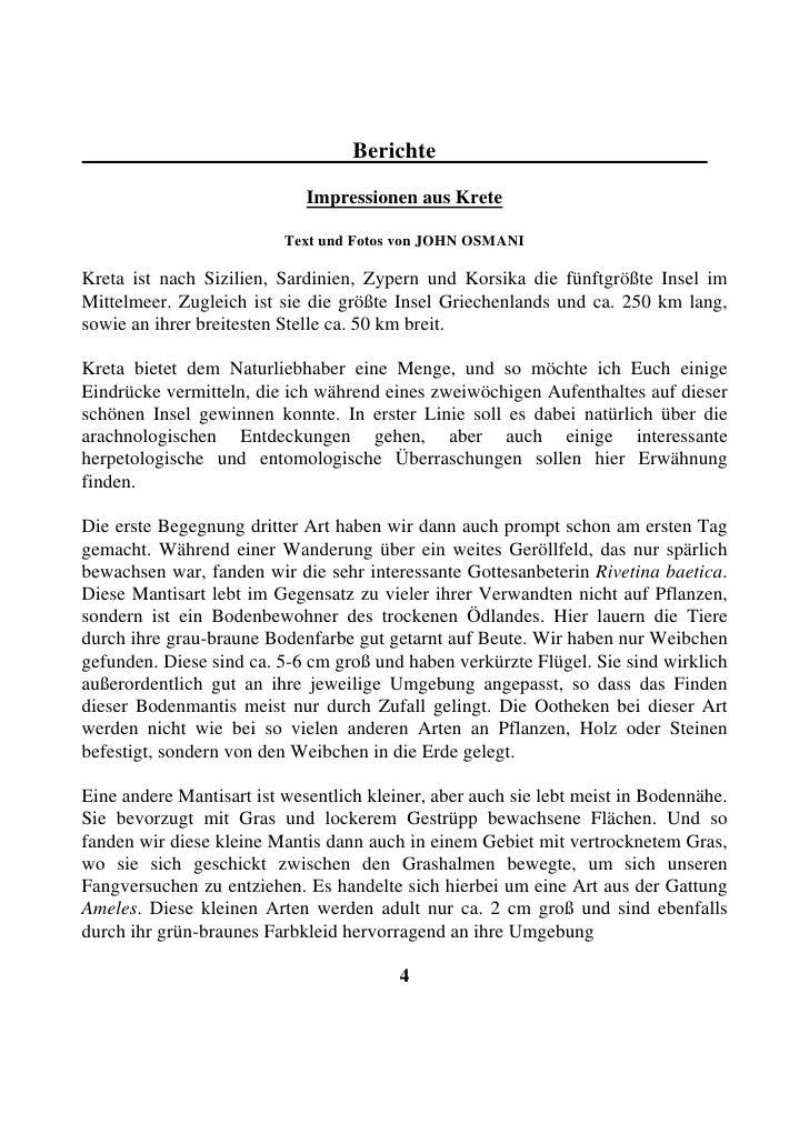 Berichte                               Impressionen aus Krete                            Text und Fotos von JOHN OSMANI  K...
