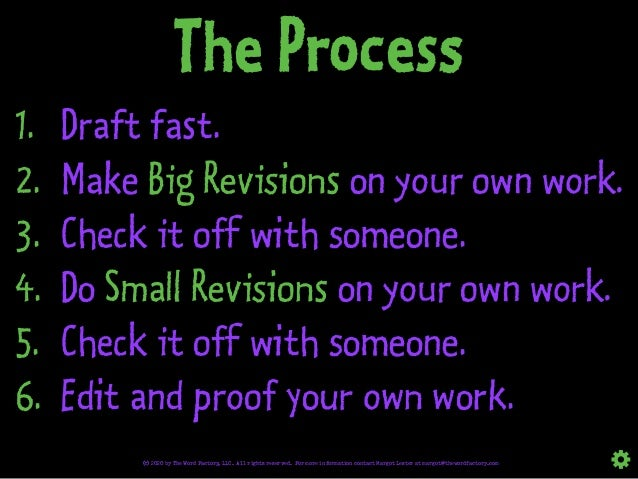 The Process 1. Draft fast. 2. Make Big Revisions on your own work. 3. Check it off with someone. 4. Do Small Revisions on ...