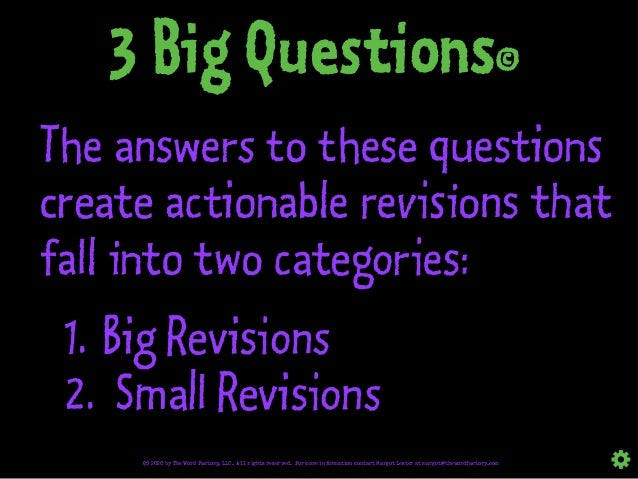 The answers to these questions create actionable revisions that fall into two categories: 1. Big Revisions 2. Small Revisi...