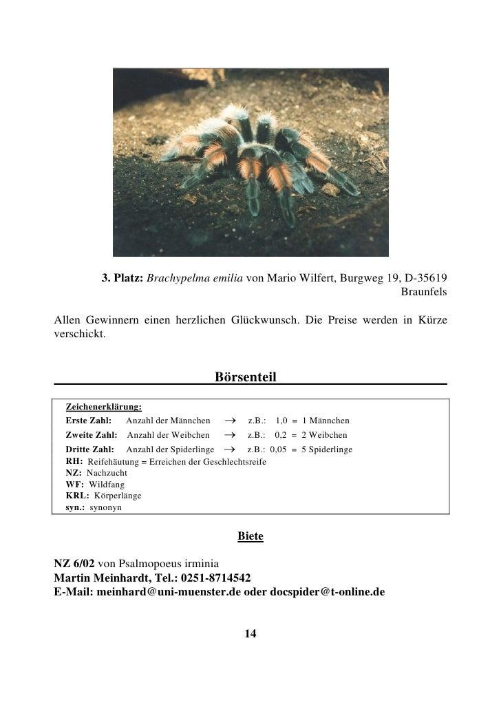 3. Platz: Brachypelma emilia von Mario Wilfert, Burgweg 19, D-35619                                                       ...