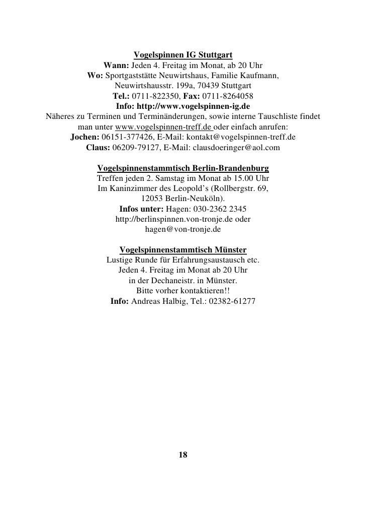 Vogelspinnen IG Stuttgart                Wann: Jeden 4. Freitag im Monat, ab 20 Uhr            Wo: Sportgaststätte Neuwirt...