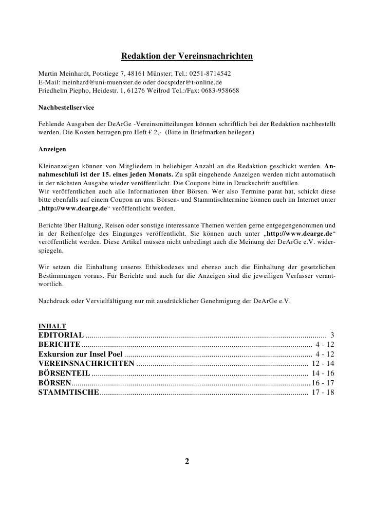 Redaktion der Vereinsnachrichten Martin Meinhardt, Potstiege 7, 48161 Münster; Tel.: 0251-8714542 E-Mail: meinhard@uni-mue...