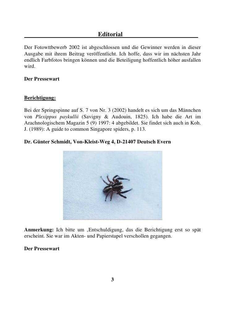 Editorial Der Fotowttbewerb 2002 ist abgeschlossen und die Gewinner werden in dieser Ausgabe mit ihrem Beitrag veröffentli...