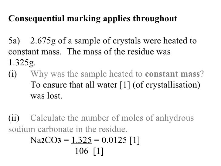 determining number moles water crystallization associated In this experiment, the water of crystallisation is removed from hydrated  for  students who already have a reasonable understanding of the mole concept.