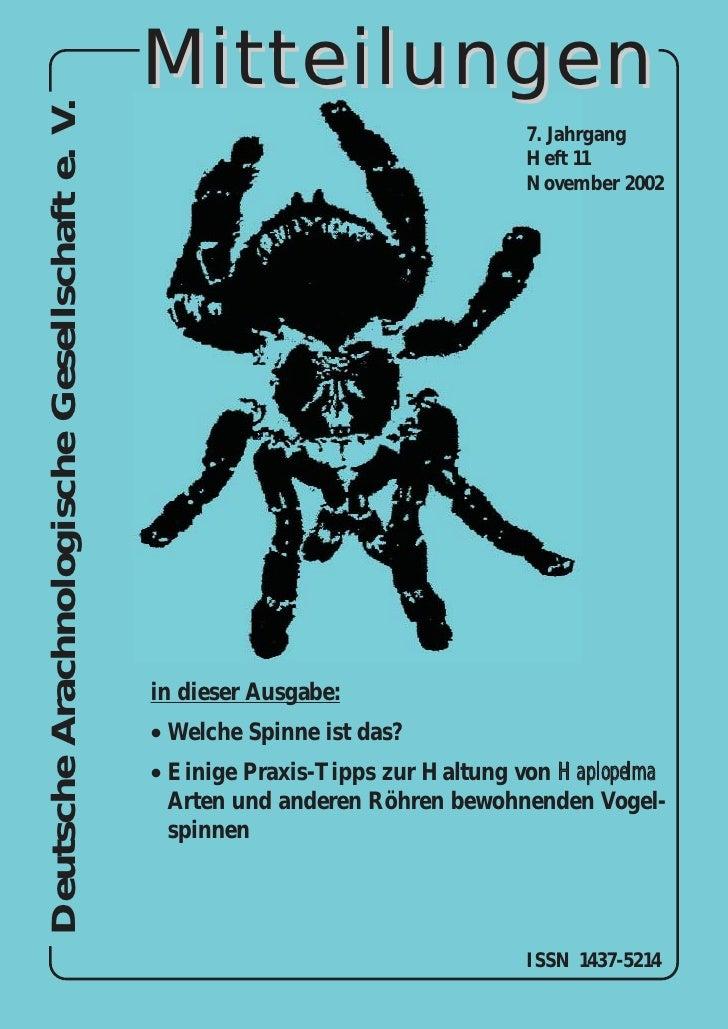 Deutsche Arachnologische Gesellschaft e. V.   Mitteilungen                                                                ...
