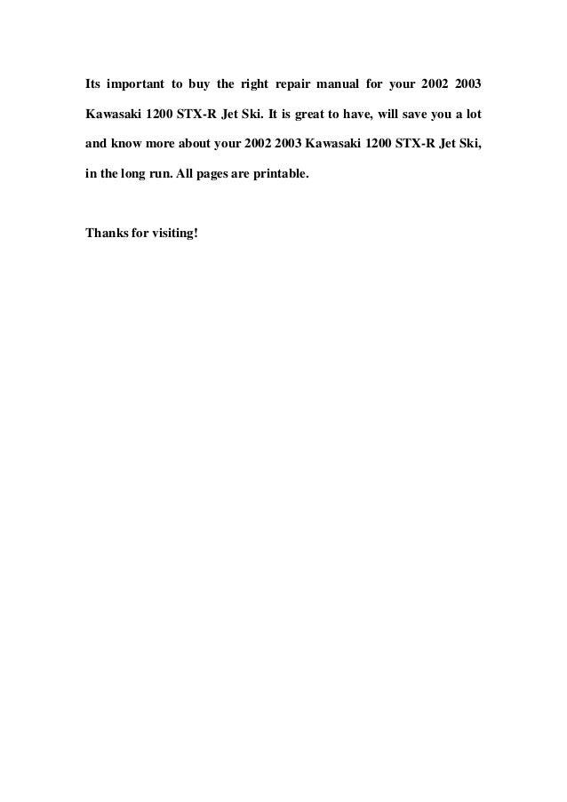 2002 2003 kawasaki 1200 stx r jet ski service repair