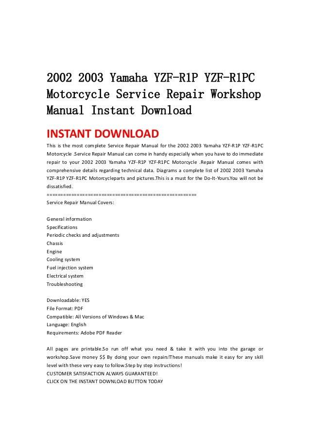 2002 2003 Yamaha Yzf R1 P Yzf
