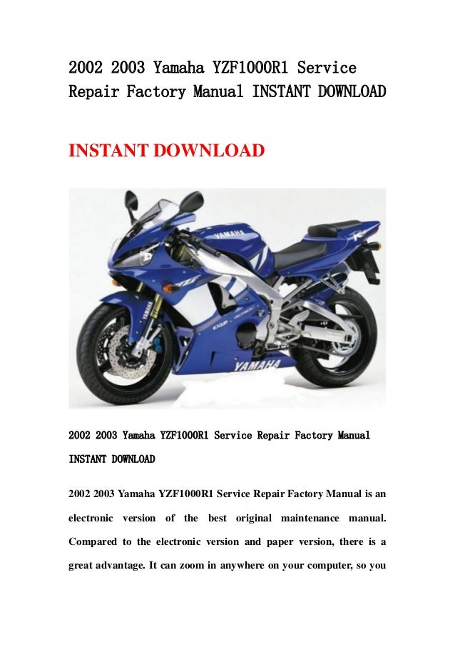2002 2003 yamaha yzf1000 r1 service repair factory manual instant dow