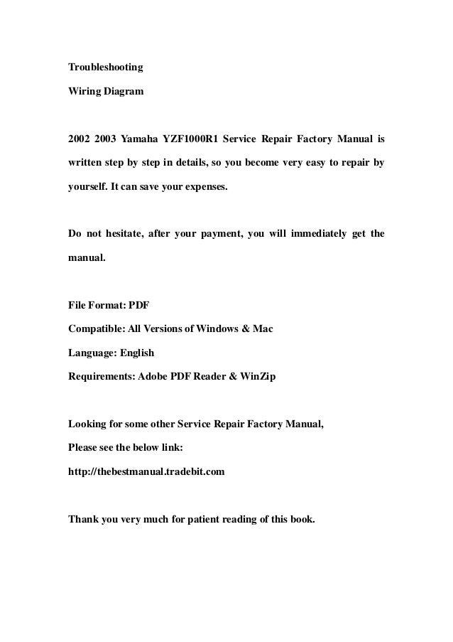 2002 2003 yamaha yzf1000 r1 service repair factory manual instant dow rh slideshare net 2000 yamaha r1 service manual pdf 2004 yamaha r1 service manual pdf