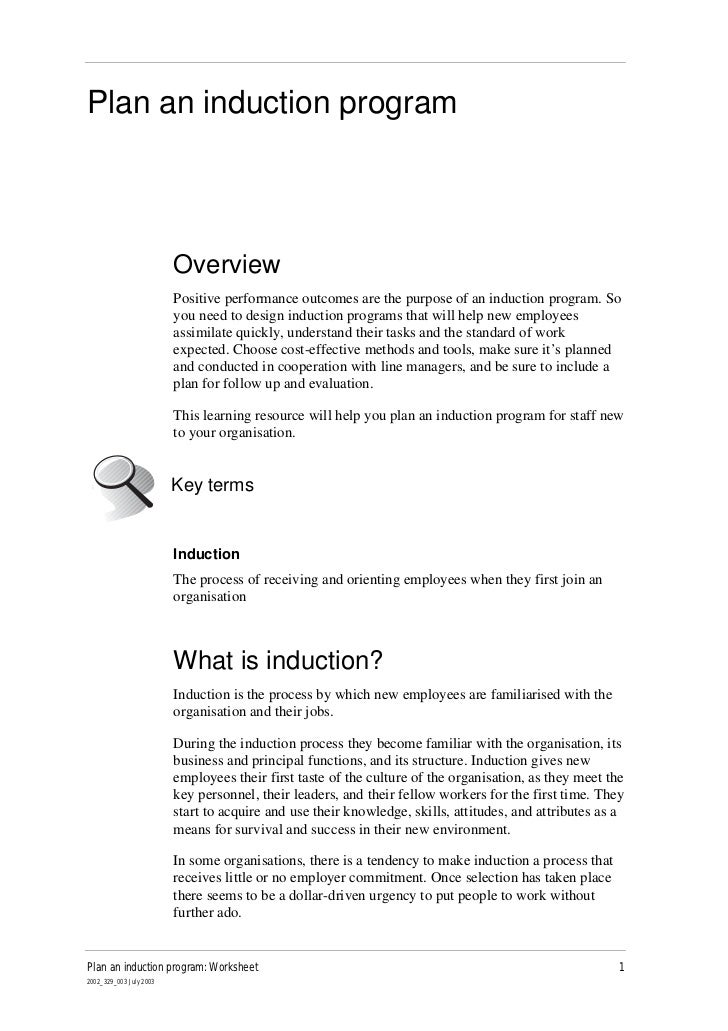 Plan an induction program                         Overview                         Positive performance outcomes are the p...