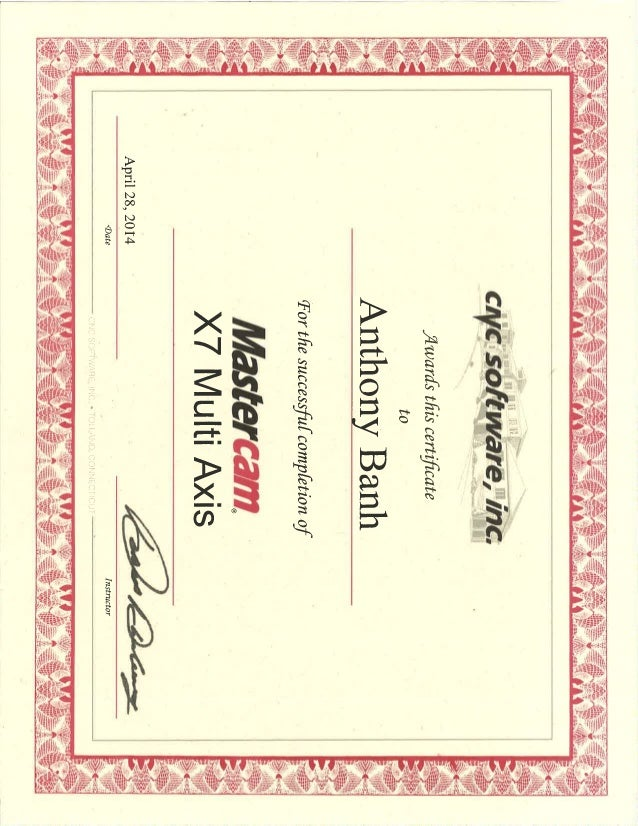 Mastercam Certificated 3302001