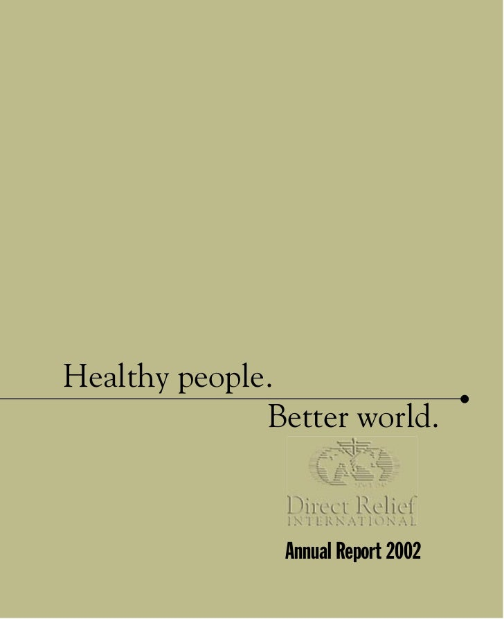 Healthy people.              Better world.                 Annual Report 2002             1