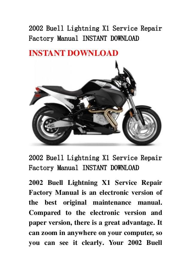 2002 buell lightning x1 service repair factory manual instant download rh slideshare net buell x1 service manual download buell x1 lightning service manual