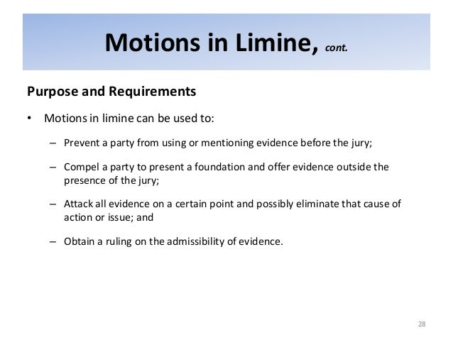 motion in limine template - selvin pre trial motions