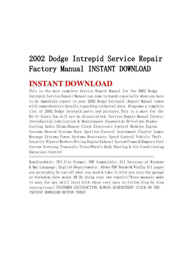 2002 dodge intrepid service repair factory manual instant download rh slideshare net Dodge Magnum Repair Manual Dodge Ram Owners Manual