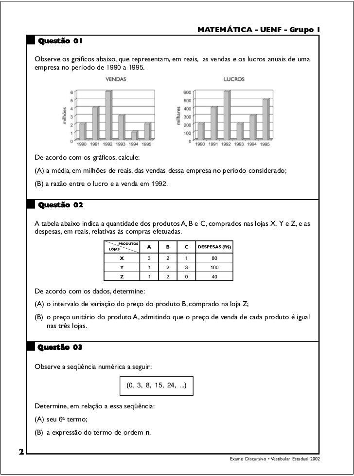 MATEMÁTICA - UENFUENF - Grupo1                                                                   MATEMÁTICA - - Grupo I   ...