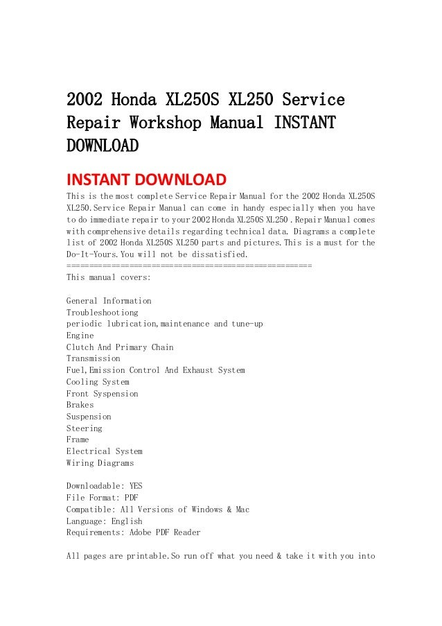Xl 250 pdf 2002 honda xl250s xl250 servicerepair workshop manual instantdownloadinstant download this is the most complete service fandeluxe Gallery
