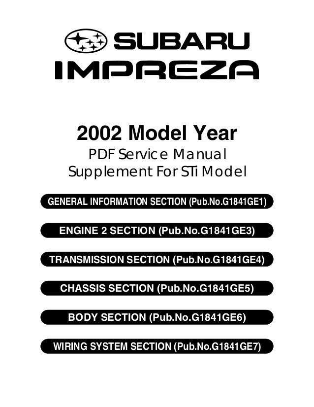 subaru impreza 2001 2002 workshop manual