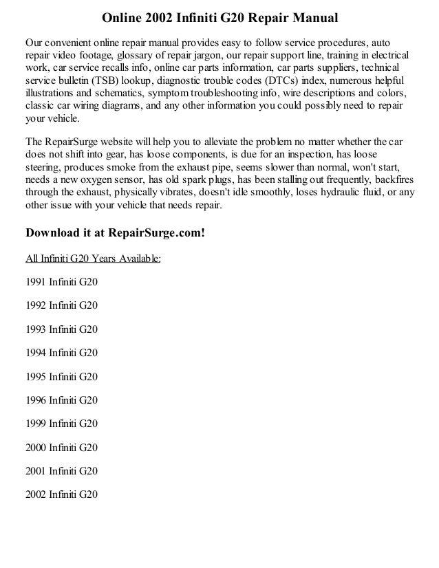 2002 infiniti g20 repair manual online rh slideshare net 2000 Infiniti G20 Interior 1999 Infiniti G20