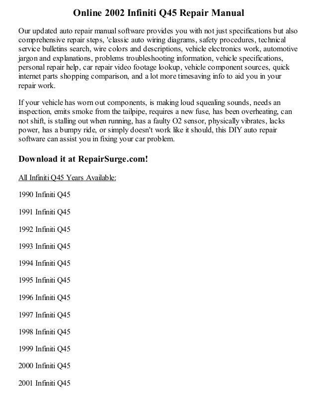 2002 infiniti q45 repair manual online rh slideshare net 2004 Infiniti Q45 2003 infiniti m45 service manual