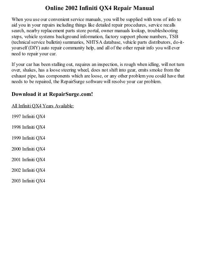 2002 infiniti qx4 repair manual online rh slideshare net 2003 Infiniti QX4 Inside 2003 Infiniti QX4 Interior