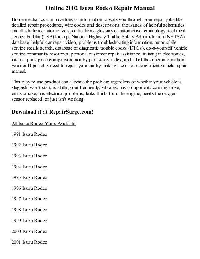 2002 isuzu rodeo repair manual online rh slideshare net 1998 holden rodeo workshop manual free 1998 isuzu trooper repair manual