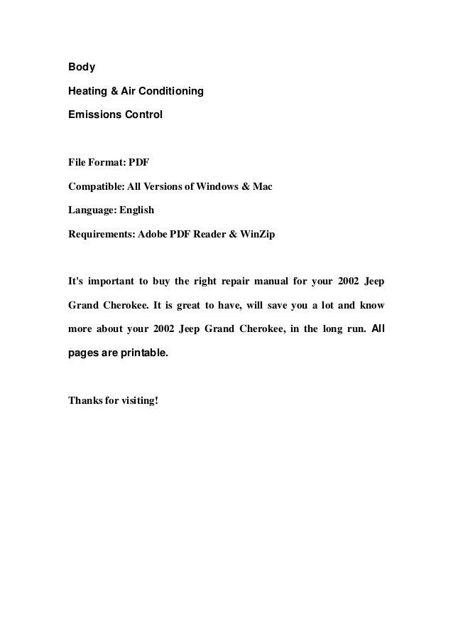 2002 jeep grand cherokee repair manual free download