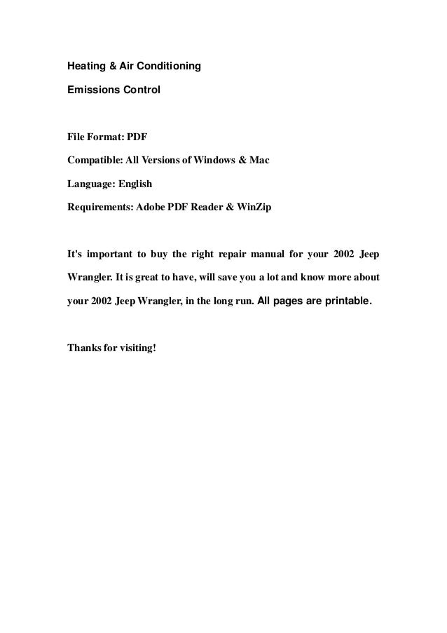 JEEP WRANGLER 1997 MANUAL Pdf Download | ManualsLib