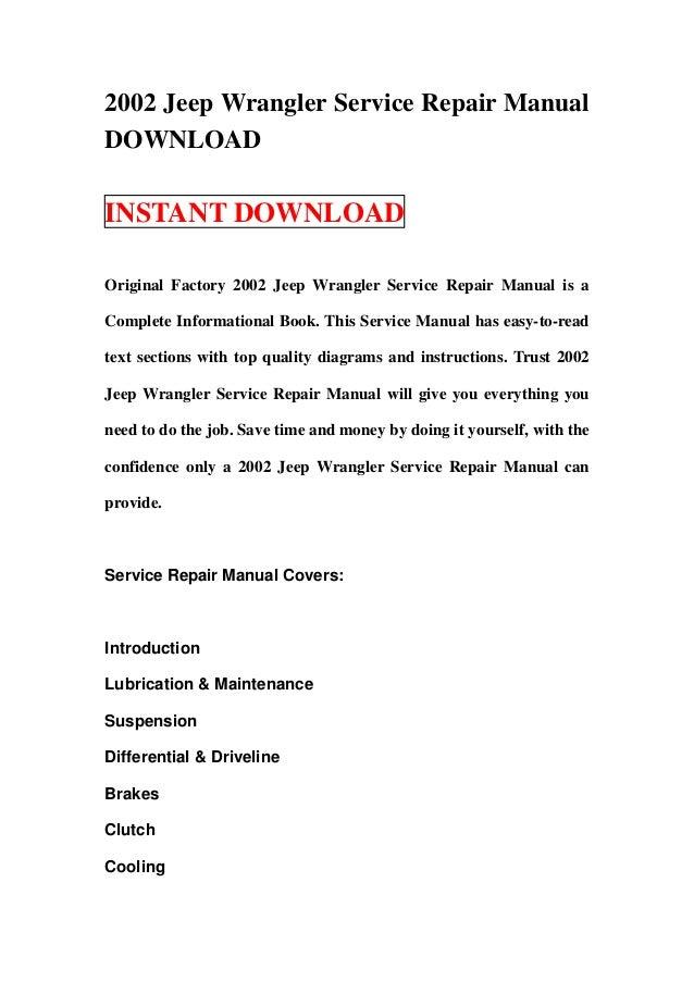 2002 Jeep Wrangler Service Repair Manual Download