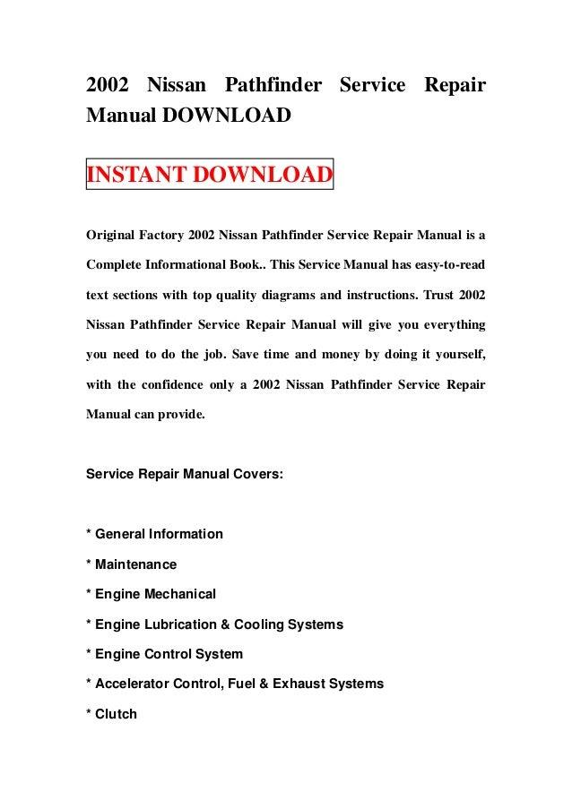 2002 nissan pathfinder service repair manual download rh slideshare net 2002 nissan pathfinder factory service manual 2002 Nissan Pathfinder Repair Manual