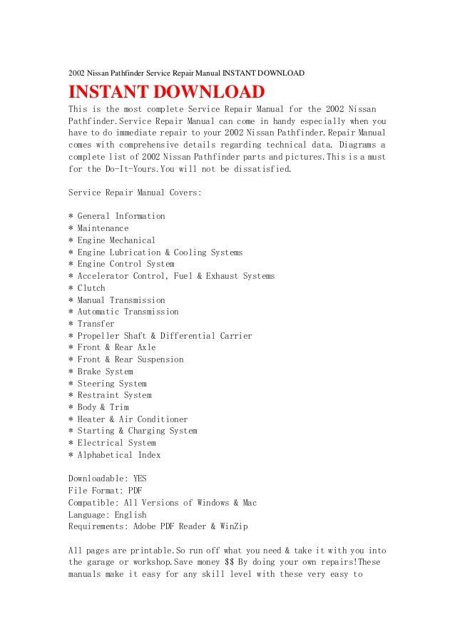 2002 nissan pathfinder repair manual