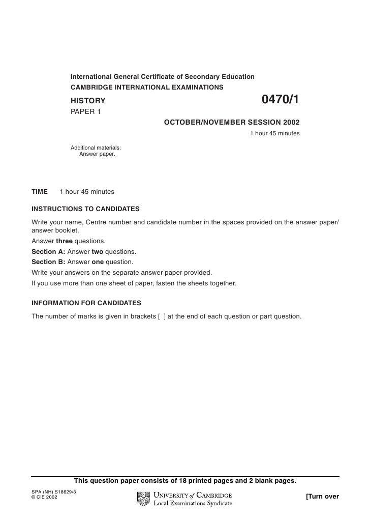 International General Certificate of Secondary Education              CAMBRIDGE INTERNATIONAL EXAMINATIONS              HI...