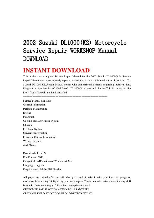 suzuki dl1000 dl 1000 2003 repair service manual