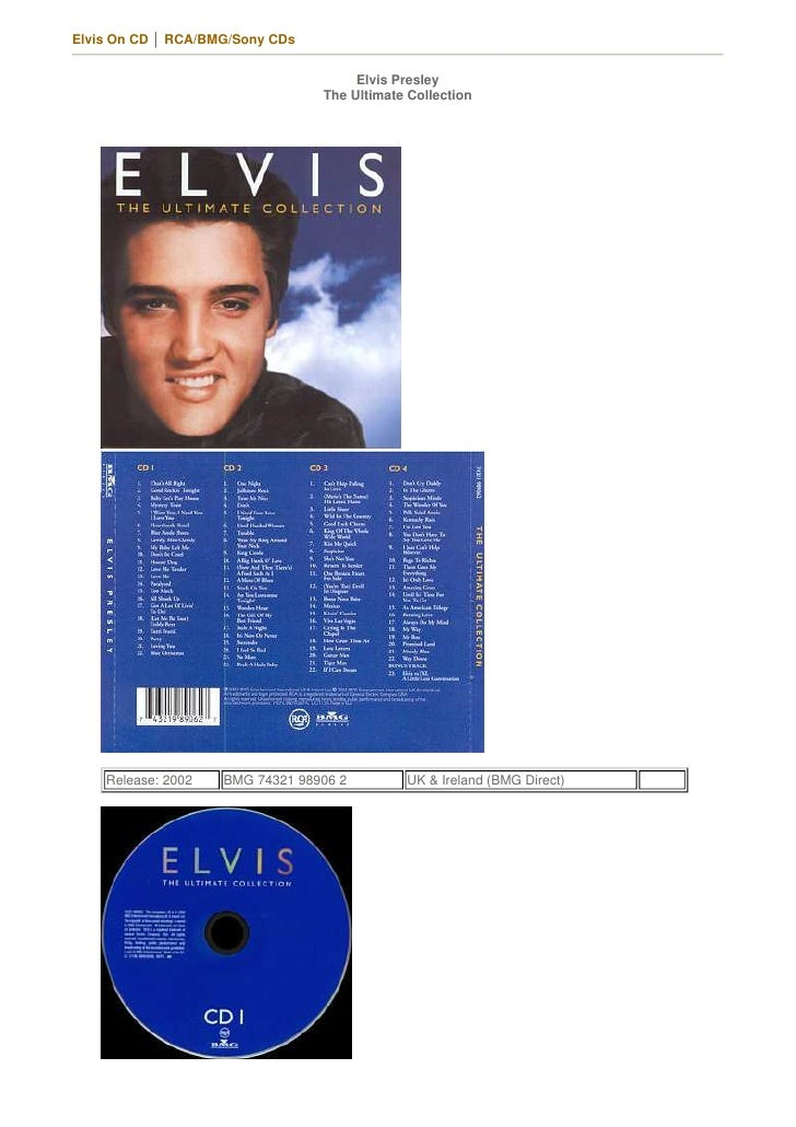 Elvis On CD │ RCA/BMG/Sony CDs                                         Elvis Presley                                  The ...