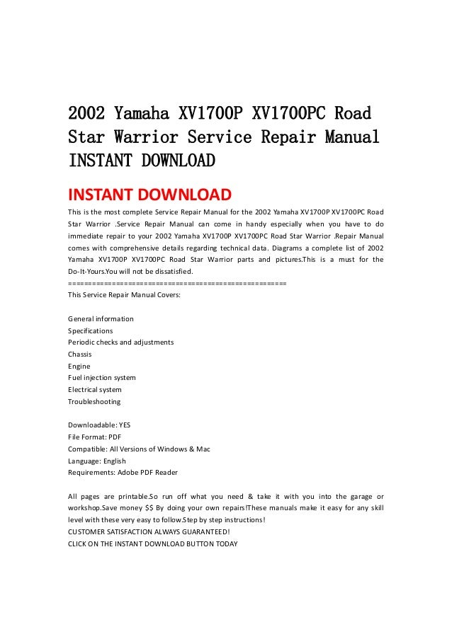 2002 Yamaha Xv1700 P Xv1700pc Road Star Warrior Service Repair Manual