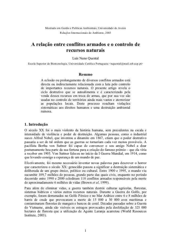 Mestrado em Gestão e Políticas Ambientais, Universidade de Aveiro                           Relações Internacionais do Amb...