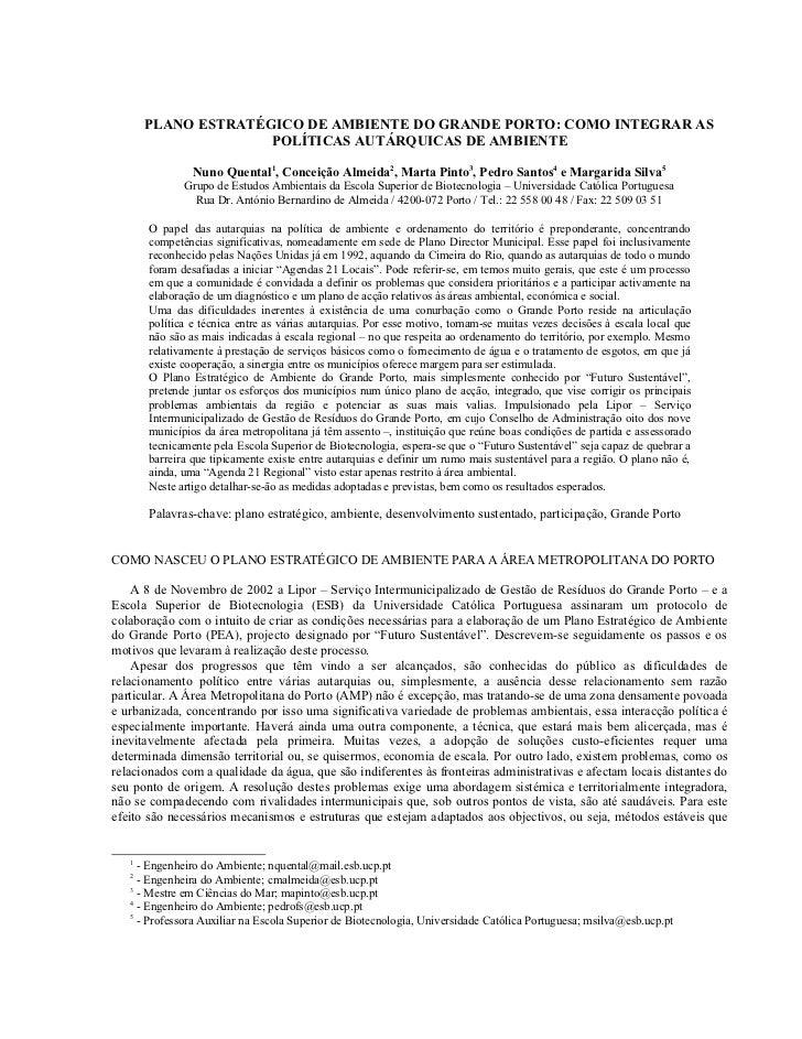 PLANO ESTRATÉGICO DE AMBIENTE DO GRANDE PORTO: COMO INTEGRAR AS                     POLÍTICAS AUTÁRQUICAS DE AMBIENTE     ...