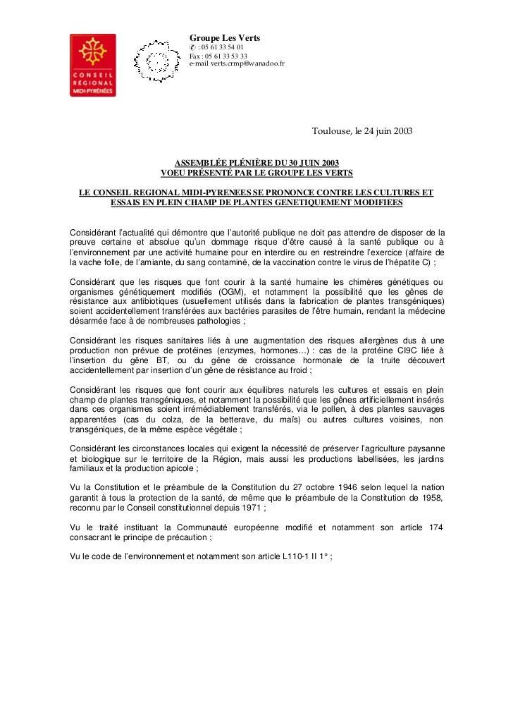 Groupe Les Verts                                  : 05 61 33 54 01                                Fax : 05 61 33 53 33    ...