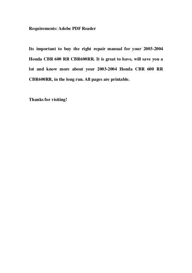2004 cbr600rr service manual