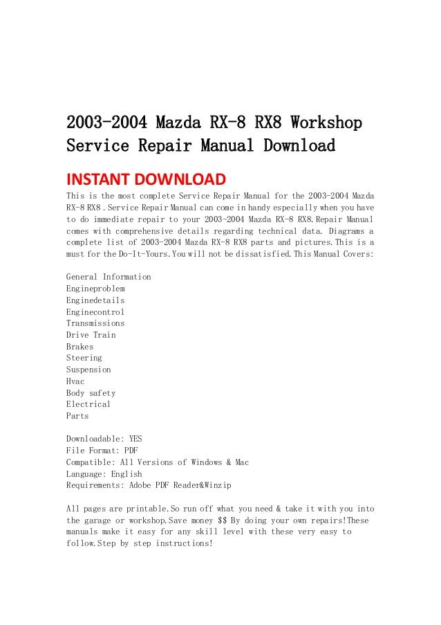2003 2004 mazda rx-8 rx8 workshop service repair manual download