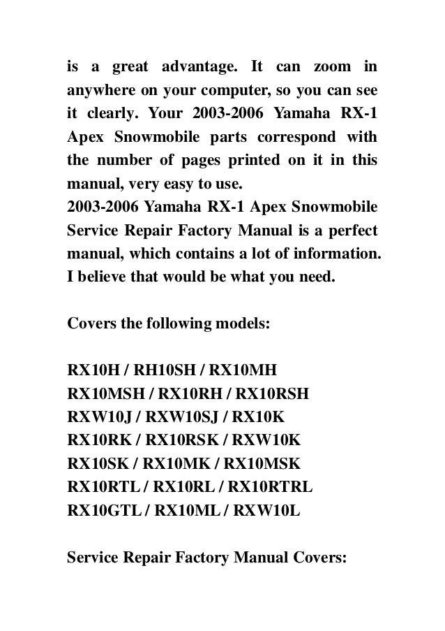 2003 2006 yamaha rx 1 apex snowmobile service repair factory manual i rh slideshare net Installation Guide Installation Guide