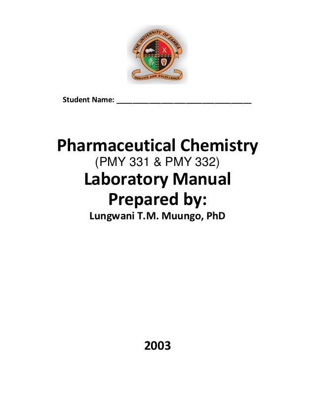2003 Pharmaceutical Chemistry Laboratory Manual 1