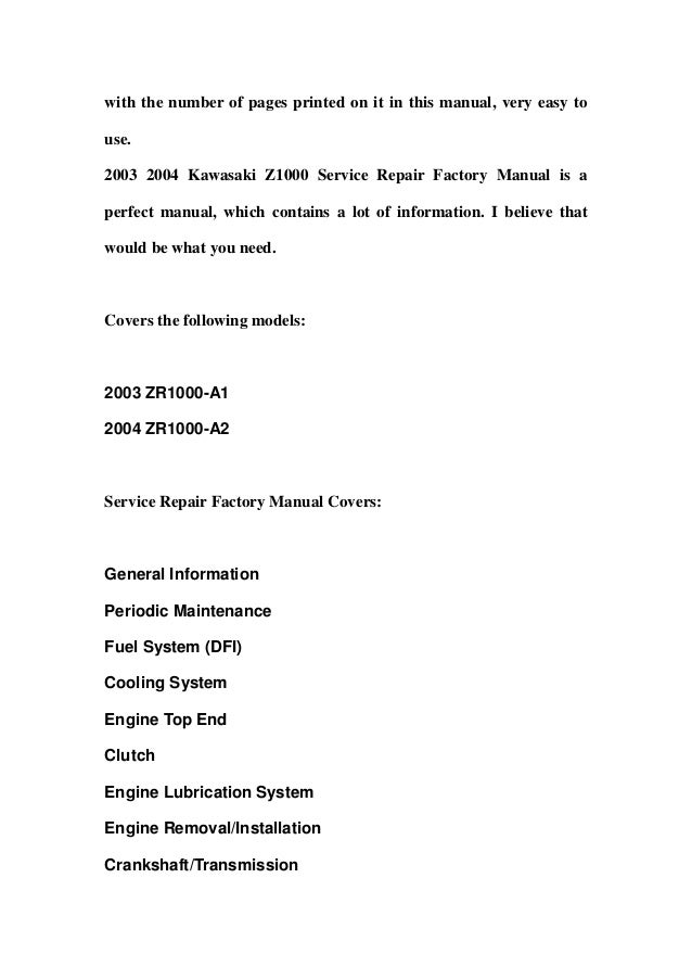 2003 2004 Kawasaki Z1000 Service Repair Factory Manual Instant Downlo