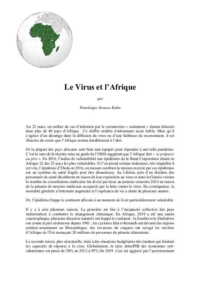 Le Virus et l'Afrique par Dominique Strauss-Kahn Au 22 mars, un millier de cas d'infection par le coronavirus « seulement ...