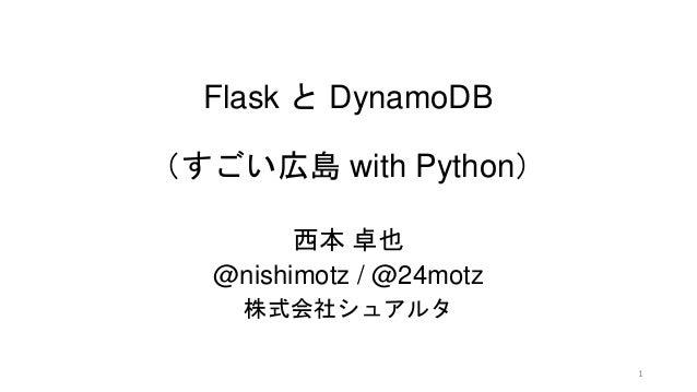 Flask と DynamoDB (すごい広島 with Python) 西本 卓也 @nishimotz / @24motz 株式会社シュアルタ 1