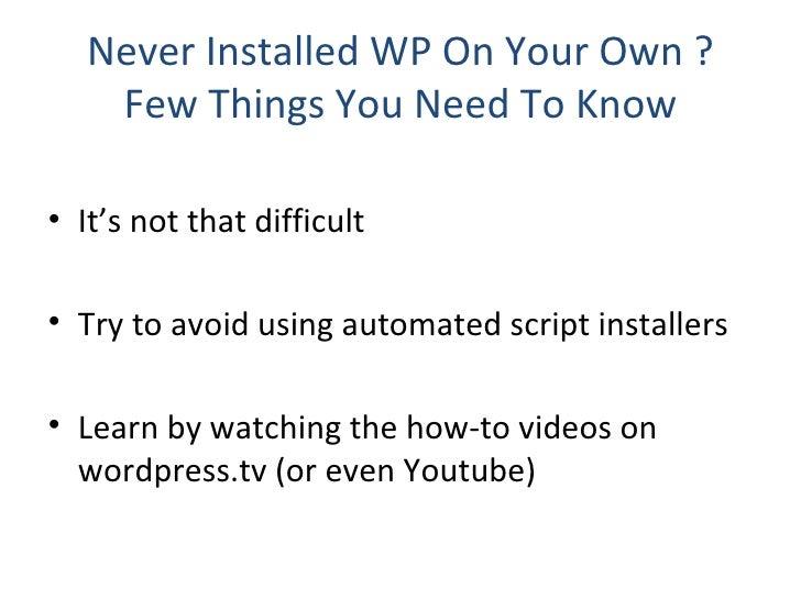How To Get Started After Installing Wordpress ( Wordcamp, Delhi ) Slide 2