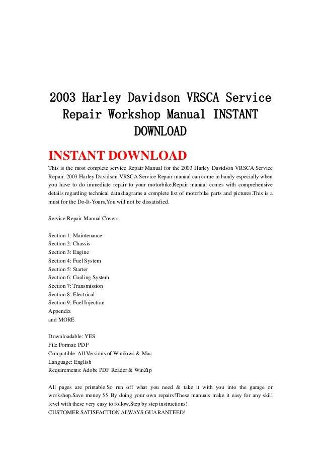 harley davidson vrsca 2003 ser vice manual download
