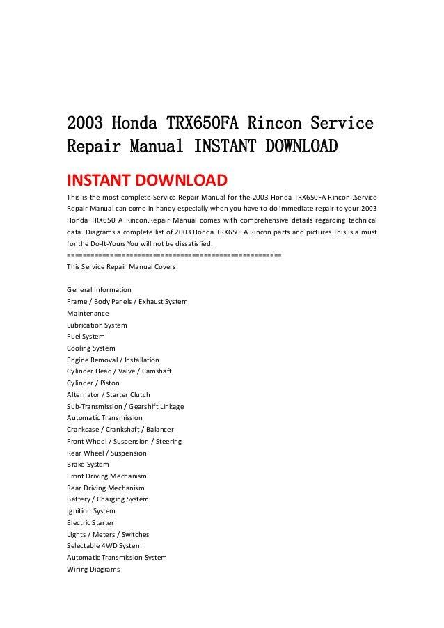 2003 Honda Trx650 Fa Rincon Service Repair Manual Instant