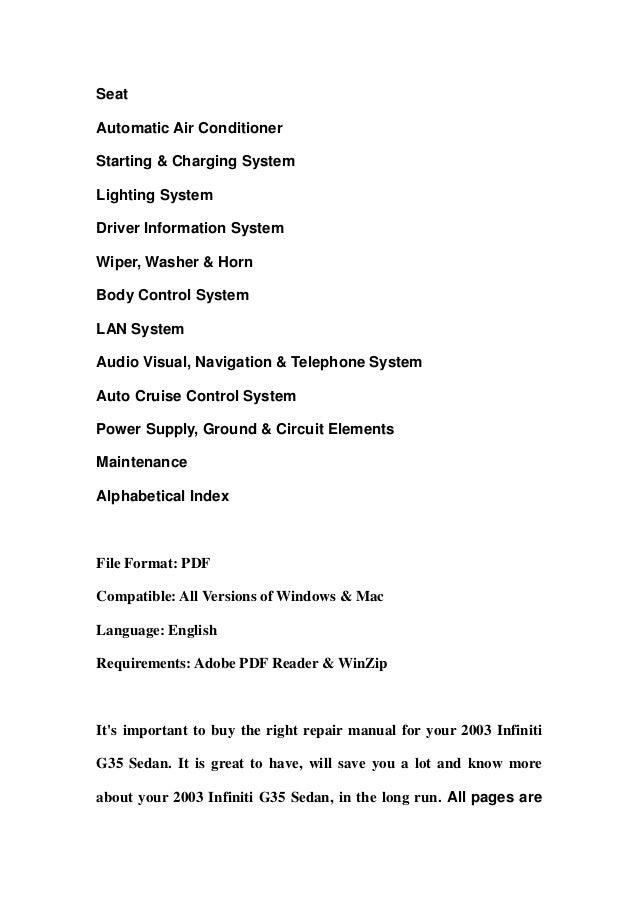 2003 infiniti g35 sedan service repair manual